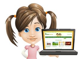 Dienstleistungen eintragen - Mädchen mit Laptop